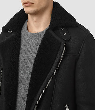 Hombres Brennand Shearling Biker Jacket (Black) - product_image_alt_text_4