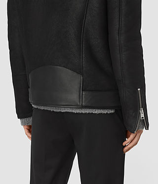 Hombres Brennand Shearling Biker Jacket (Black) - product_image_alt_text_5