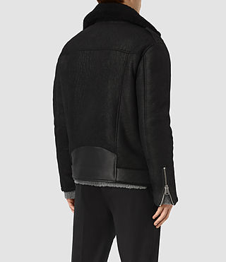 Hombres Brennand Shearling Biker Jacket (Black) - product_image_alt_text_6