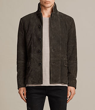Men's Huxton Leather Blazer (ANTHRACITE/KHAKI) - Image 1