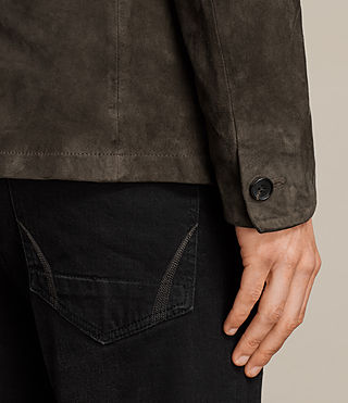 Men's Huxton Leather Blazer (ANTHRACITE/KHAKI) - Image 6