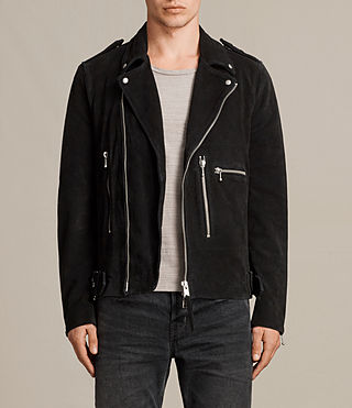 Men's Nash Suede Biker Jacket (Washed Black) -