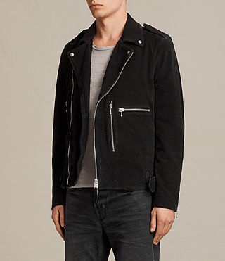 Men's Nash Suede Biker Jacket (Washed Black) - product_image_alt_text_5