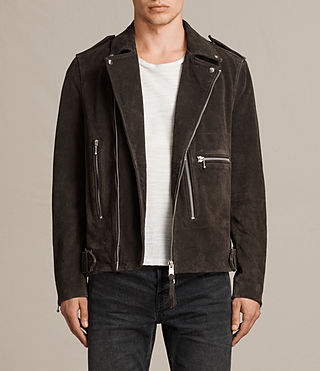 Mens Nash Suede Biker Jacket (Charcoal) - product_image_alt_text_1