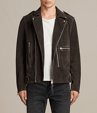 Men's Nash Suede Biker Jacket (Charcoal Grey) - Image 1