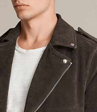 Men's Nash Suede Biker Jacket (Charcoal Grey) - Image 2