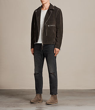 Men's Nash Suede Biker Jacket (Charcoal Grey) - Image 3