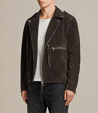 Men's Nash Suede Biker Jacket (Charcoal Grey) - Image 5