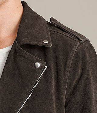 Men's Nash Suede Biker Jacket (Charcoal Grey) - Image 6