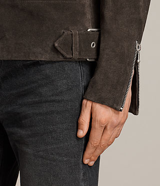 Men's Nash Suede Biker Jacket (Charcoal Grey) - Image 7