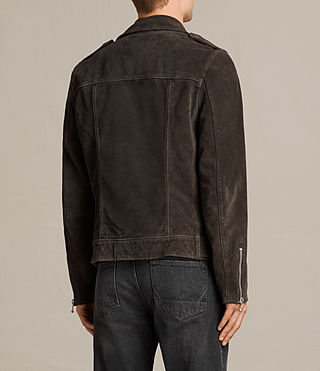 Men's Nash Suede Biker Jacket (Charcoal Grey) - Image 8