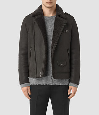 Mens Karson Shearling Biker Jacket (ANTHRACITE GREY)
