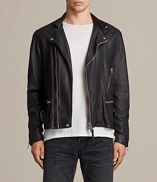 Men's Bexter Leather Biker Jacket (ANTHRACITE GREY) - product_image_alt_text_1