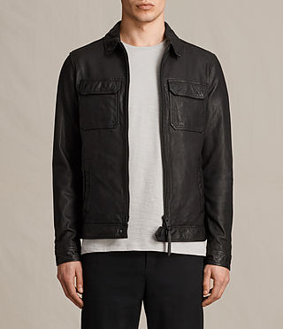 Hommes Stretner Leather Jacket (Black)