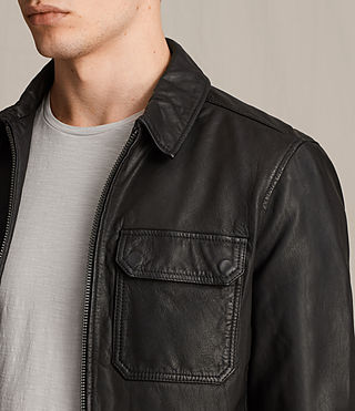 Mens Stretner Leather Jacket (Black) - product_image_alt_text_2