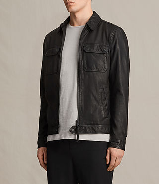 Men's Stretner Leather Jacket (Black) - product_image_alt_text_4