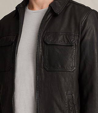 Men's Stretner Leather Jacket (Black) - product_image_alt_text_7