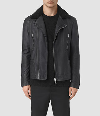 Hombres Hutchins Leather Biker Jacket (INK NAVY)
