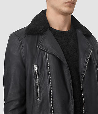 Uomo Hutchins Leather Biker Jacket (INK NAVY) - product_image_alt_text_3