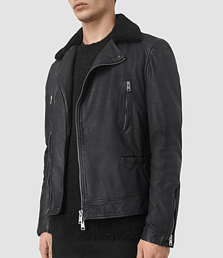 Uomo Hutchins Leather Biker Jacket (INK NAVY) - product_image_alt_text_4