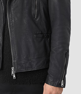Uomo Hutchins Leather Biker Jacket (INK NAVY) - product_image_alt_text_5