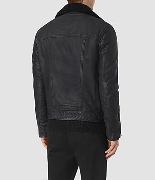 Uomo Hutchins Leather Biker Jacket (INK NAVY) - product_image_alt_text_6