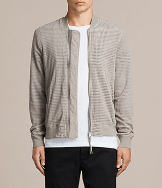 Men's Perring Suede Bomber Jacket (LIGHT STEEL GREY) - Image 1