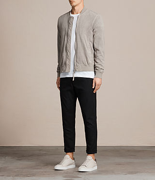Men's Perring Suede Bomber Jacket (LIGHT STEEL GREY) - Image 2