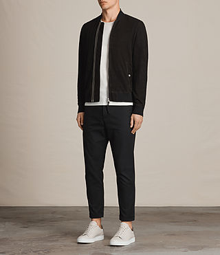 Hommes Perring Suede Bomber Jacket (Black) - product_image_alt_text_3
