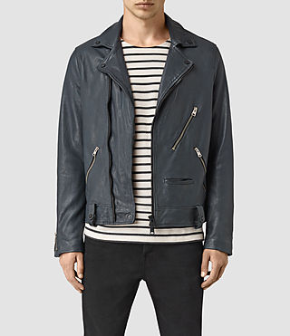Hommes Kenta Leather Biker Jacket (Petrol Blue)