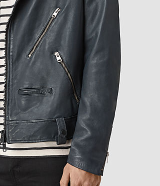 Men's Kenta Leather Biker Jacket (Petrol Blue) - product_image_alt_text_2