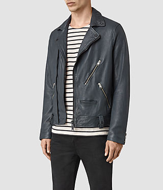 Men's Kenta Leather Biker Jacket (Petrol Blue) - product_image_alt_text_3