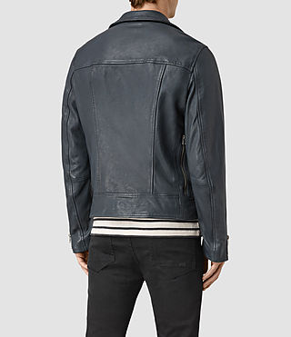 Men's Kenta Leather Biker Jacket (Petrol Blue) - product_image_alt_text_4