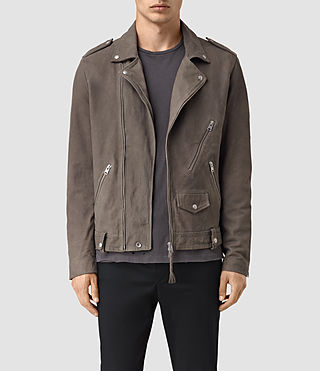 Hombre Niko Leather Biker Jacket (Steel Grey)