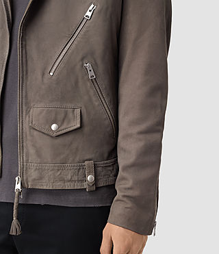 Mens Niko Leather Biker Jacket (Steel Grey) - product_image_alt_text_2