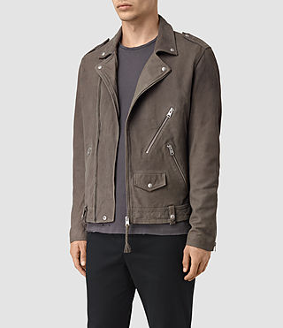 Mens Niko Leather Biker Jacket (Steel Grey) - product_image_alt_text_3