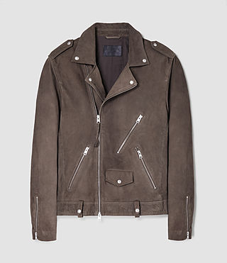 Uomo Niko Leather Biker Jacket (Steel Grey) - product_image_alt_text_5
