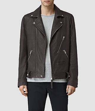 Hommes Barassie Leather Biker Jacket (ANTHRACITE GREY)