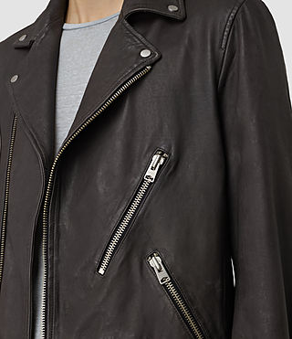 Men's Barassie Leather Biker Jacket (ANTHRACITE GREY) - product_image_alt_text_2