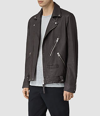 Men's Barassie Leather Biker Jacket (ANTHRACITE GREY) - product_image_alt_text_3