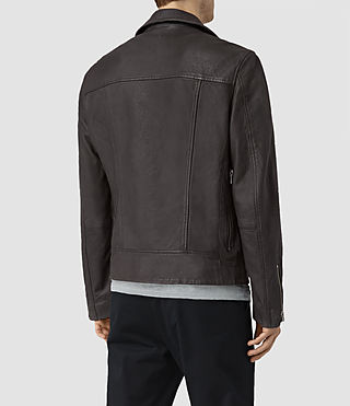 Men's Barassie Leather Biker Jacket (ANTHRACITE GREY) - product_image_alt_text_4