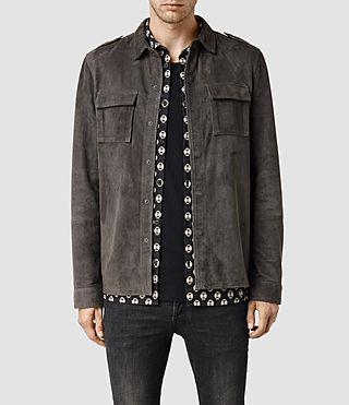 Mens Nassau Leather Shirt (Anthracite)
