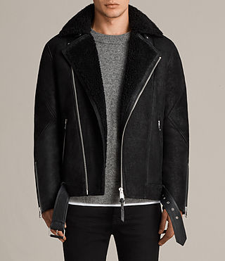 Hombre Brooklyn Shearling Biker Jacket (Black) - Image 1