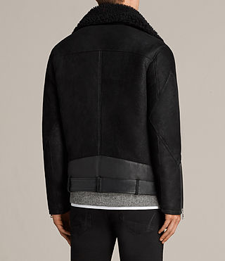 Hombre Brooklyn Shearling Biker Jacket (Black) - Image 11