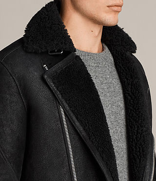 Hombre Brooklyn Shearling Biker Jacket (Black) - Image 2