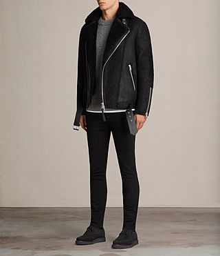 Hombre Brooklyn Shearling Biker Jacket (Black) - Image 3