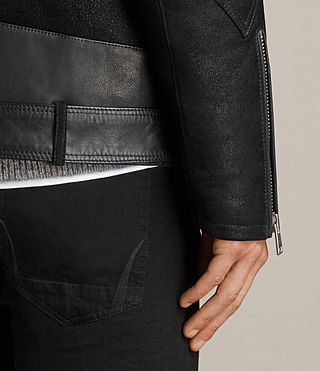 Hombre Brooklyn Shearling Biker Jacket (Black) - Image 5