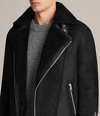 Hombre Brooklyn Shearling Biker Jacket (Black) - Image 6