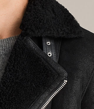 Hombre Brooklyn Shearling Biker Jacket (Black) - Image 7