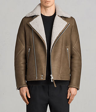 Men's Bronx Shearling Biker Jacket (Khaki Green) - Image 1